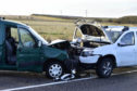 The vehicles involved in the collision which closed the A90 between Peterhead and Boddam yesterday.