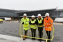 from left) Nick Harris, director of HB Development, Aberdeen City Council leader Jenny Laing, co-leader Douglas Lumsden and Alistair Broadley, senior project manager, Robertson. Picture by COLIN RENNIE November 6, 2018.