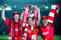 Duncan Shearer, Billy Dodds and Stewart McKimmie celebrate winning the Coca Cola Cup.