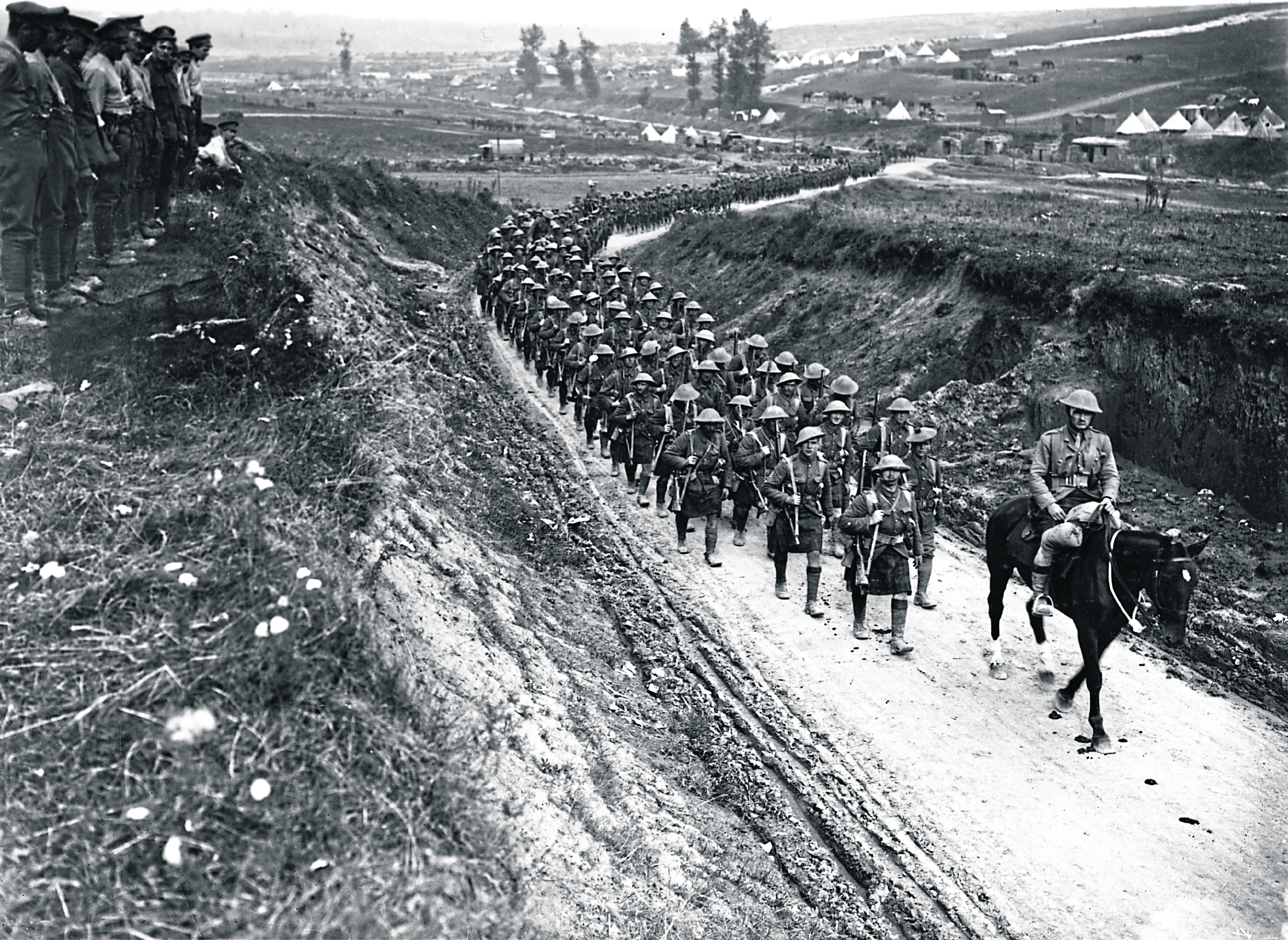 2nd Battalion Gordon Highlanders marching to the trenches along the Becordel-Fricourt Road.