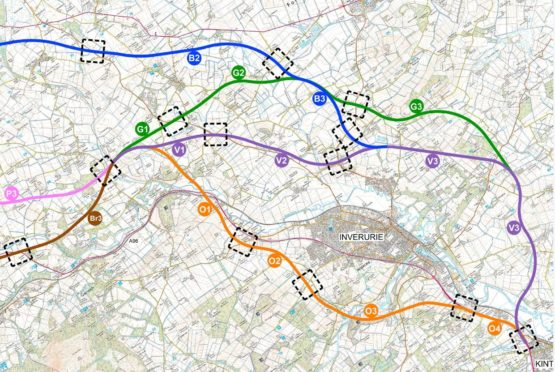 The A96 route options.