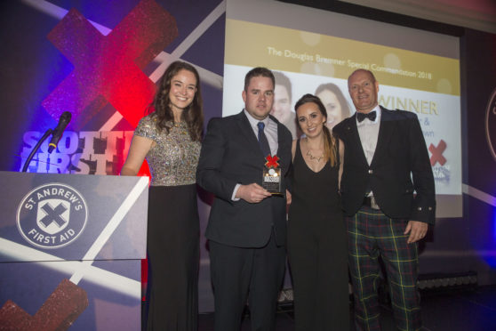Alec and Kayleigh Brown with former STV presenter and ex-Miss Scotland Jennifer Reoch (left) and Stuart Callison, chief executive of St Andrew's First Aid