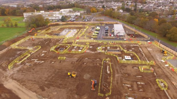 Aerial view of Alness Academy Build