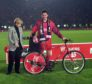 Stephen Glass with his bicycle for being named man-of-the-match in the 1995 League Cup final.