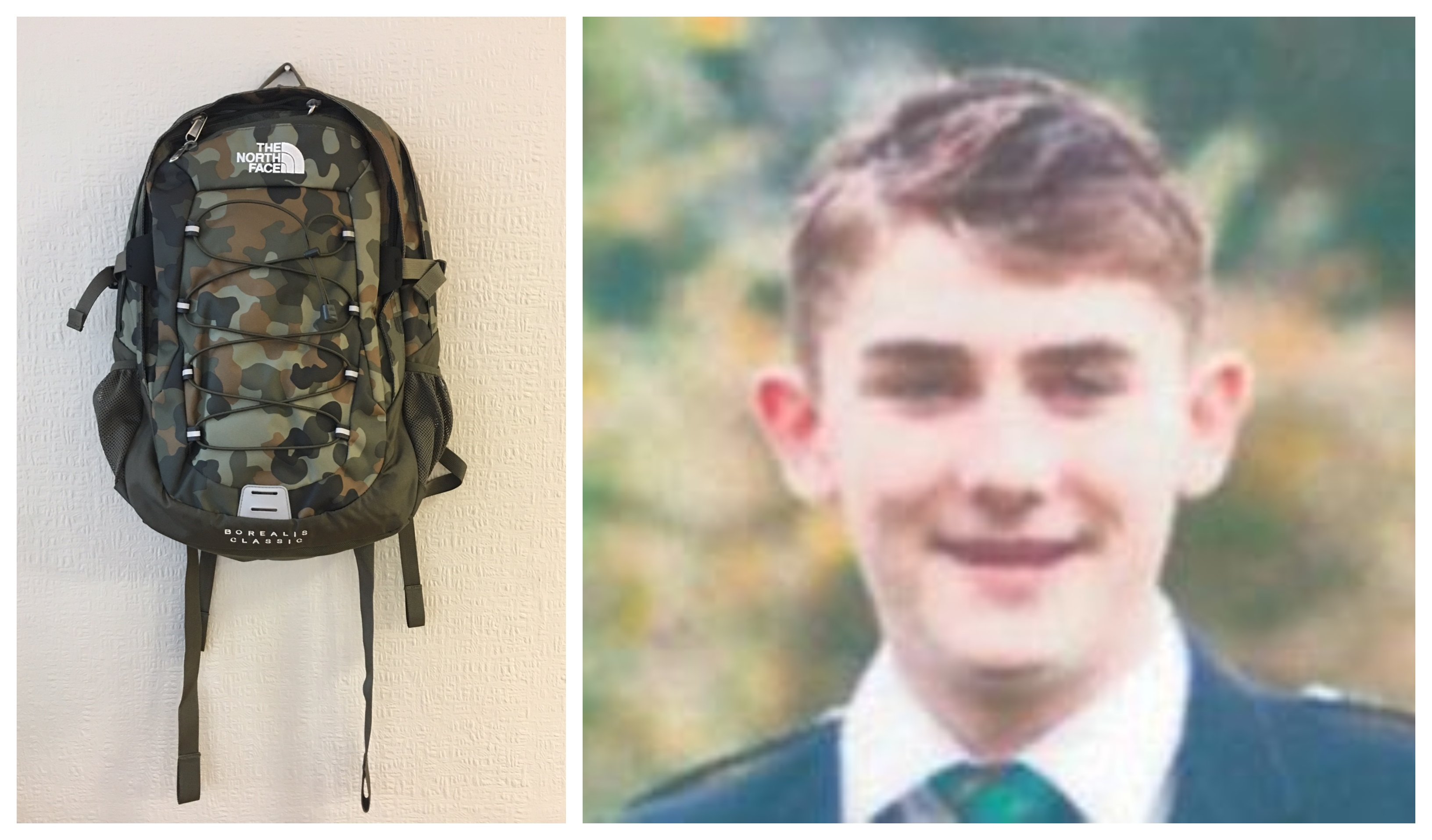 Liam Smith, right, and, left, the rucksack he was wearing when he was last seen.