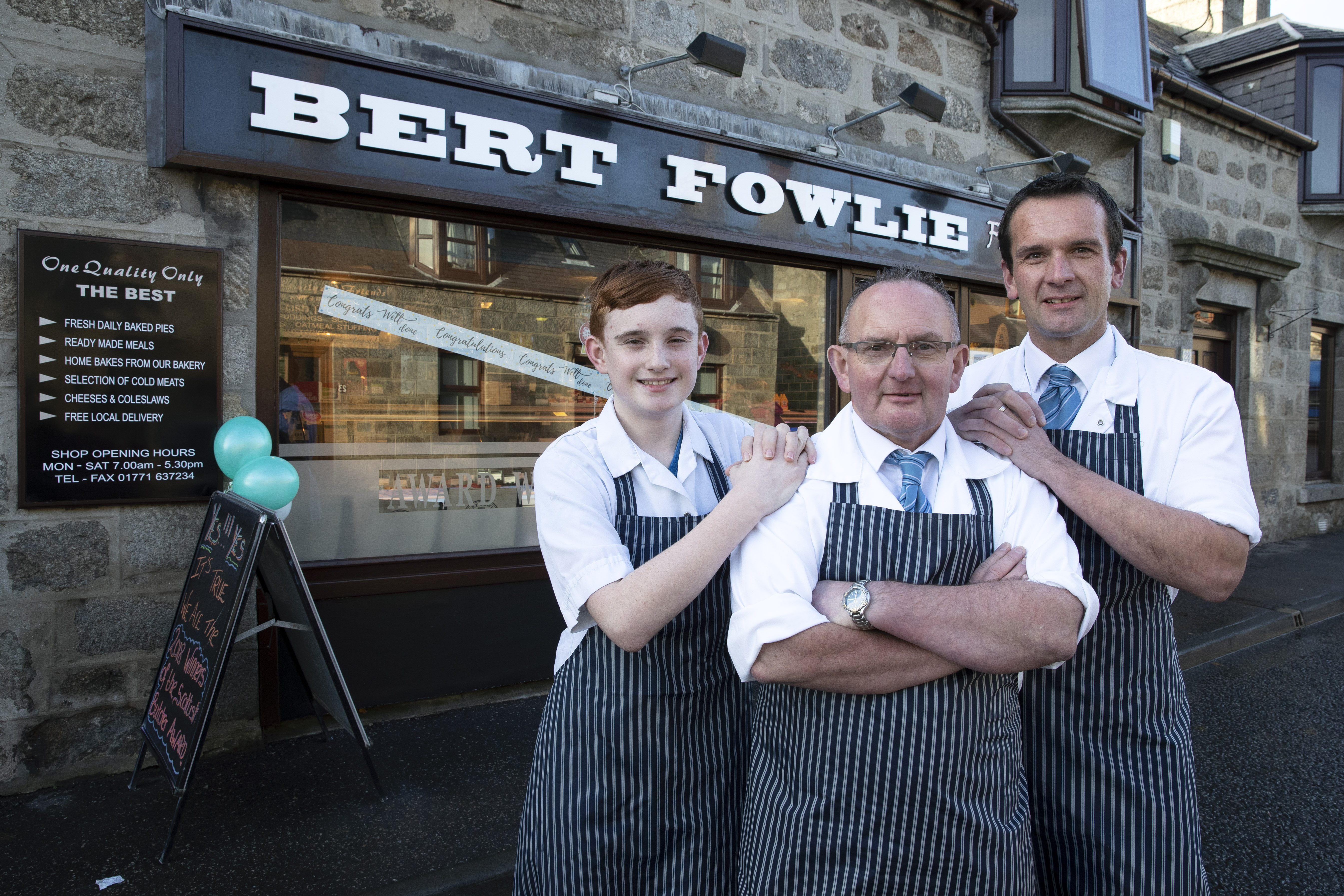 Butcher of the Year Award: Bert Fowlie of Strichen Pictured three generations of Fowlie outside the shop Hebbie pictured with his son Gavin and grandson Aaron