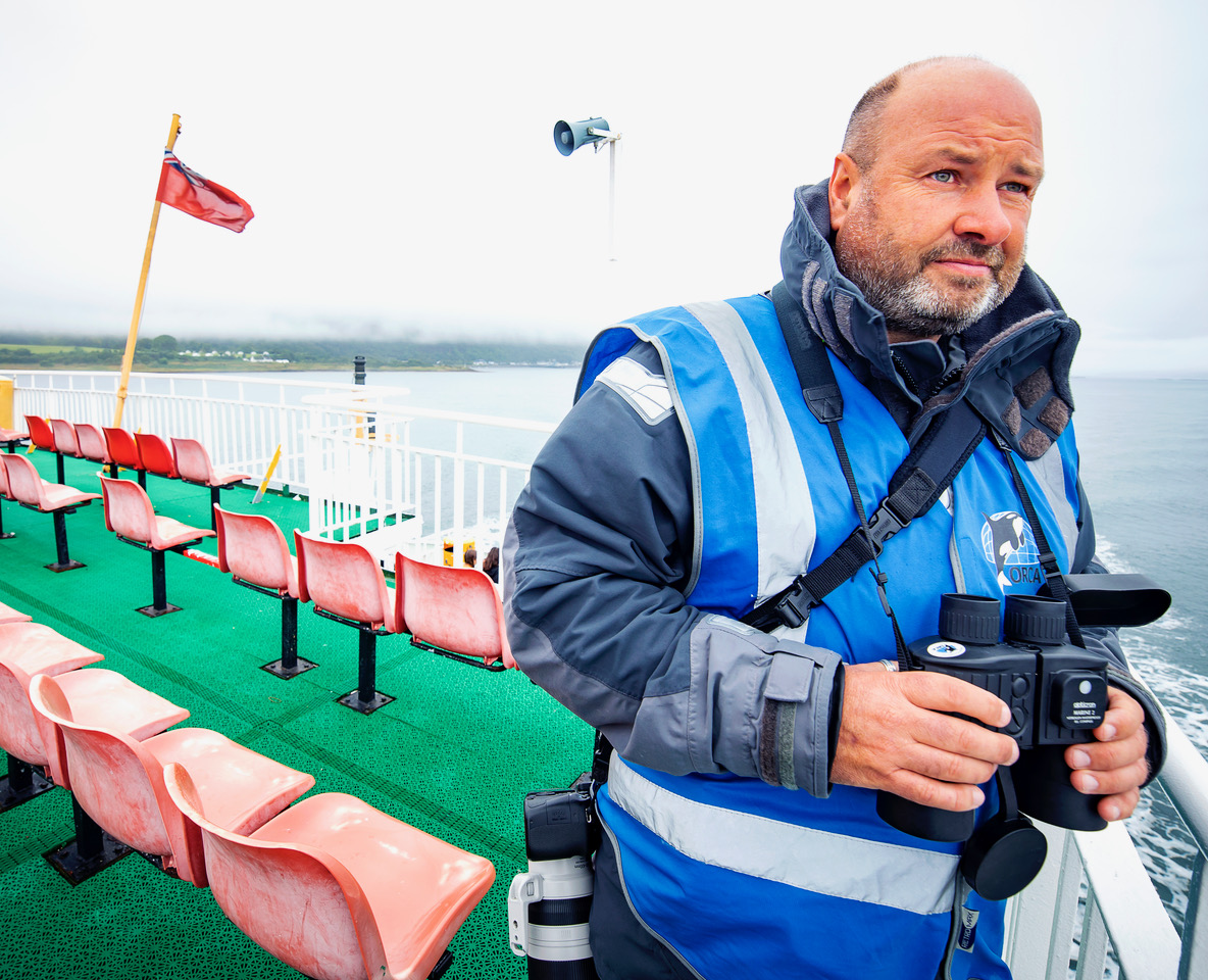 CalMac wildlife officer Andy Gilbert on the lookout for marine life in the Minch.