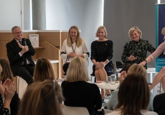 Robin Allan, Premier Oil, Jenny Junnier of Axis Network, author Katy Heidenreich, Dame Cilla Snowball and OGUK's Deirdre Michie.