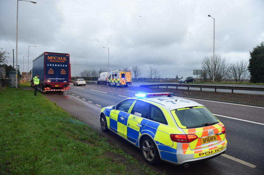 Three vehicles collided between Newtonhill and Portlethen.
