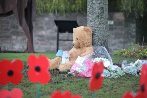 Floral tributes and teddy bears were left in tribute to Kane as his classmates returned to Coupar Angus Primary School after the weekend.