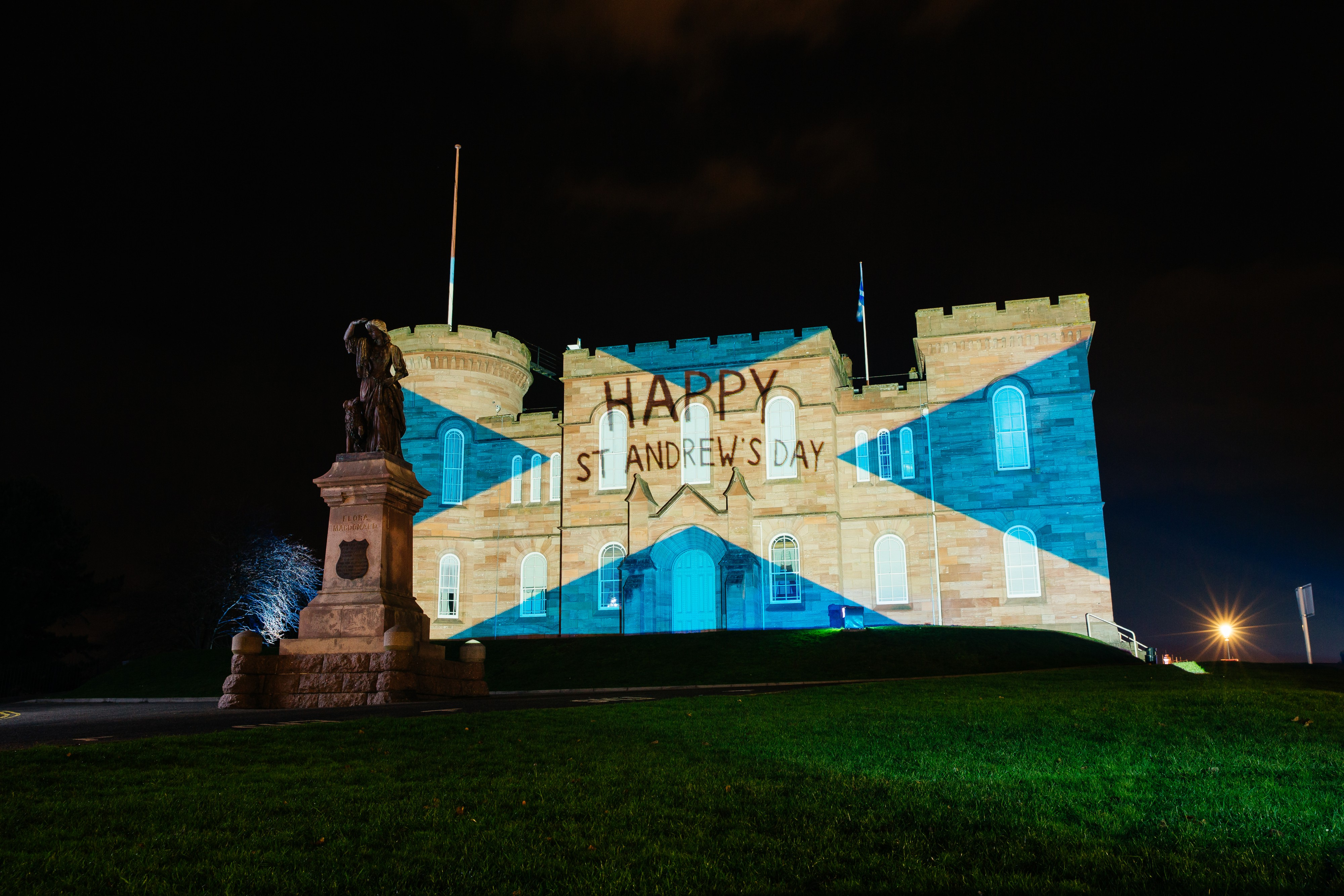 Inverness Castle is lit up for St Andrew's Day.
