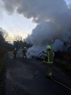 A caravan was found ablaze in Invergordon earlier today.