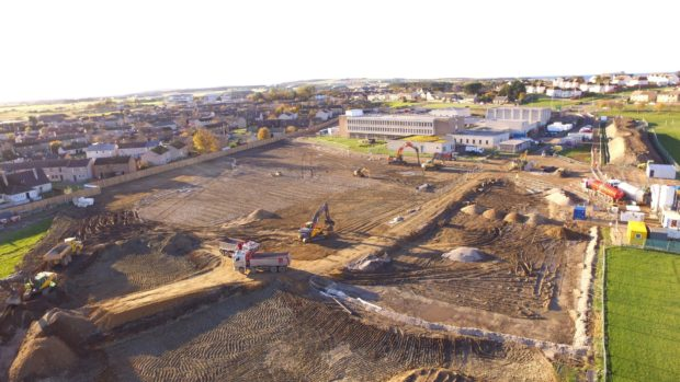 The ground is being prepared for the new Lossiemouth High School.