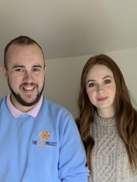 Stephen Reid, operations manager at Mikeysline with Karen Gillan during her visit