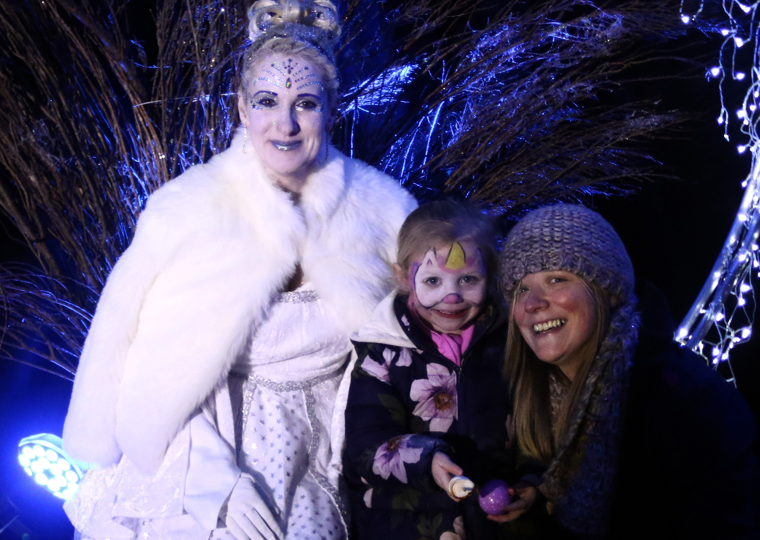 Leila MacGillivray and Nicola Gemmell excited to meet Fairy Queen (Dorothy Simpson) in her ice palace.