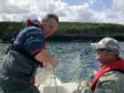 Illegal monofilament gill net being retrieved in the Moray coastline by Water Bailiffs.  Left to right are Richard Whyte and Jason Hysert from the Spey Fishery Board.