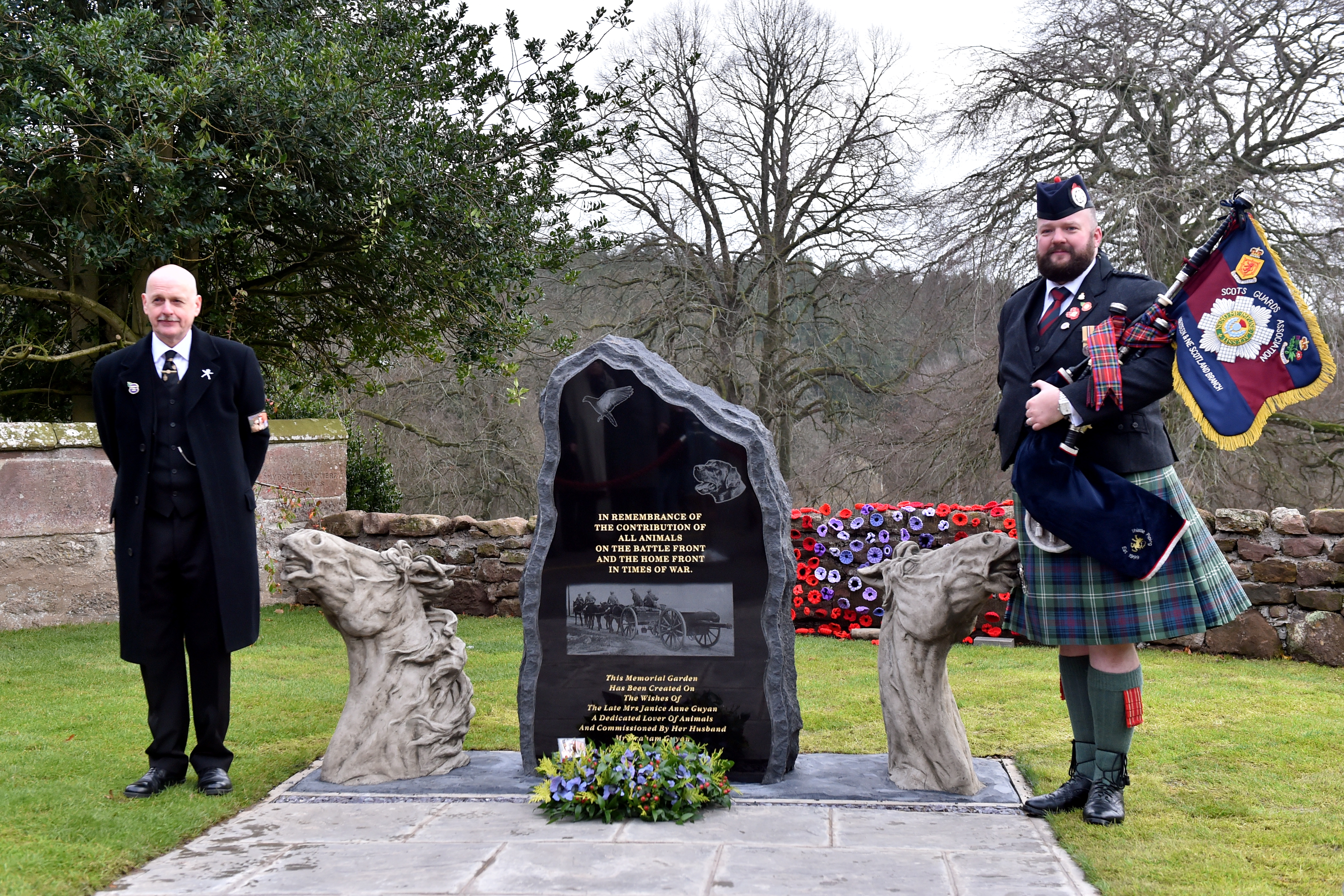 Delgatie Castle, Graham Guyan's late wife memorial, 17th November 2018.  Pictured is Graham Guyan (L) and a piper at todays ceremony.  Picture by Scott Baxter