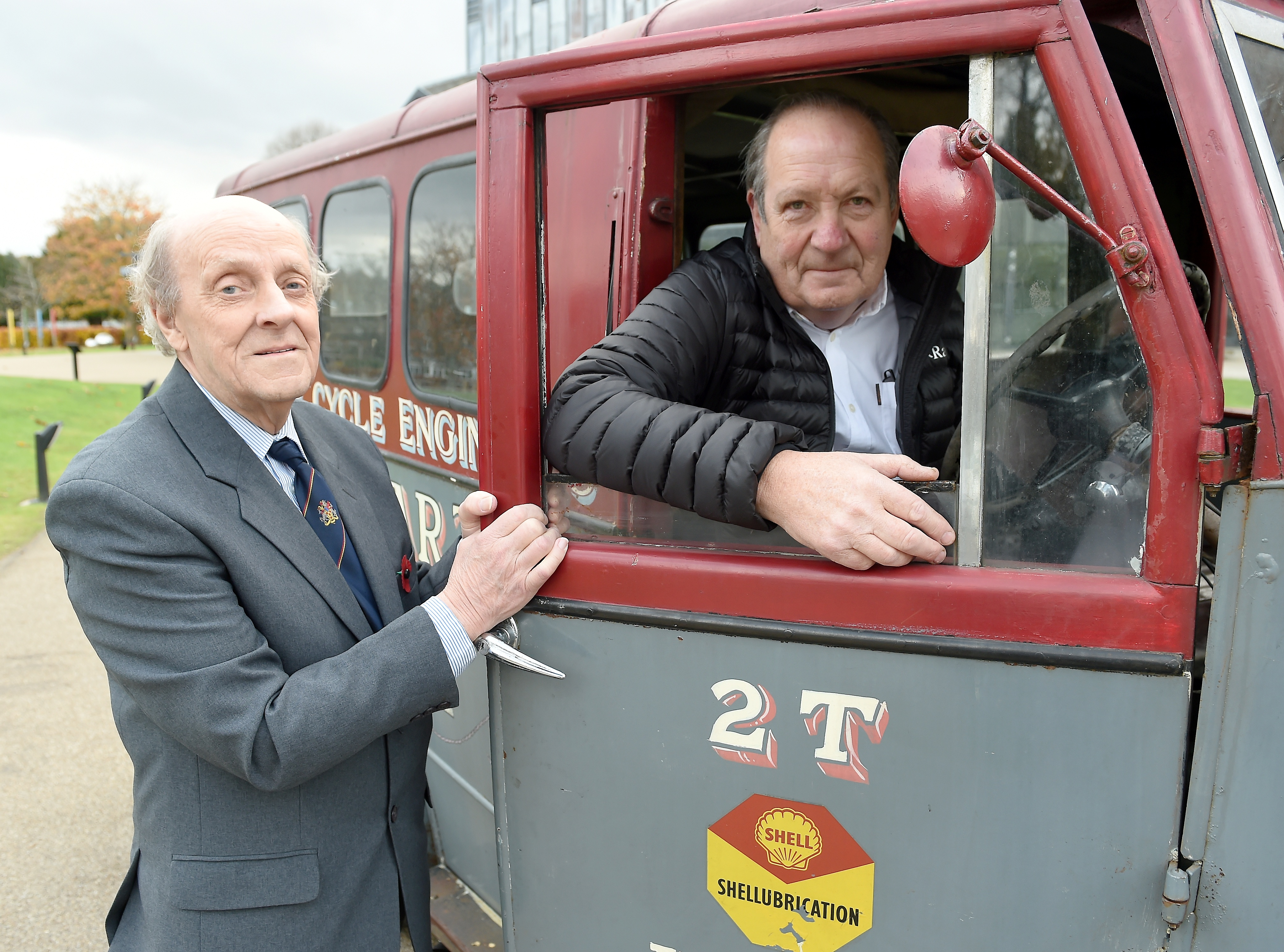 Billy Williamson, left, with Richard Gall from Spean Bridge with his father's Trojan Van which was used by the Highlands and Islands Film Guild.