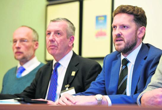 (L-R) Former senior radiologist Alistair Todd, MSP David Stewart and Dr Iain Kennedy.