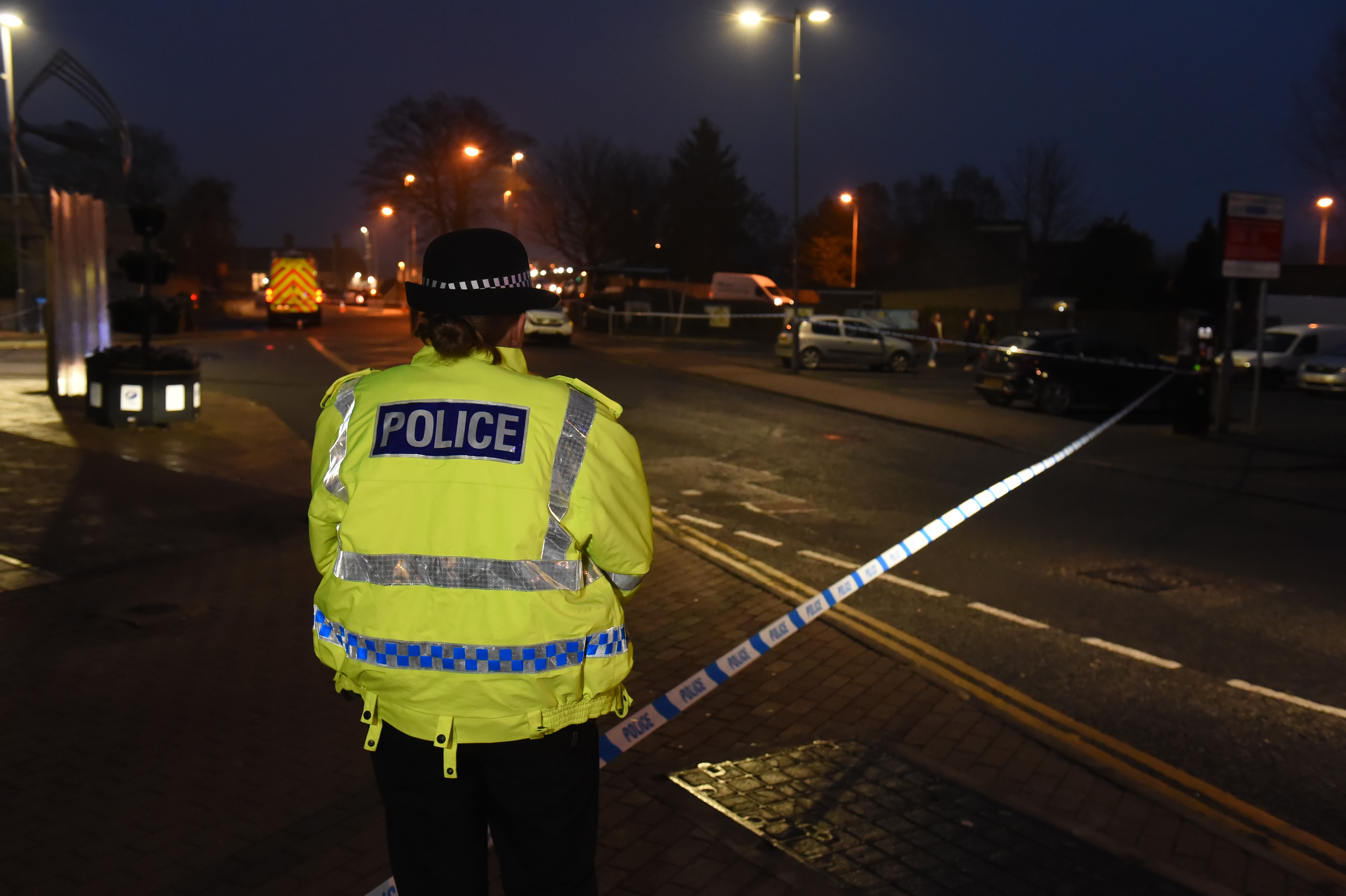 The scene in Inverurie's Burn Lane where three pedestrians were knocked down by a car.
