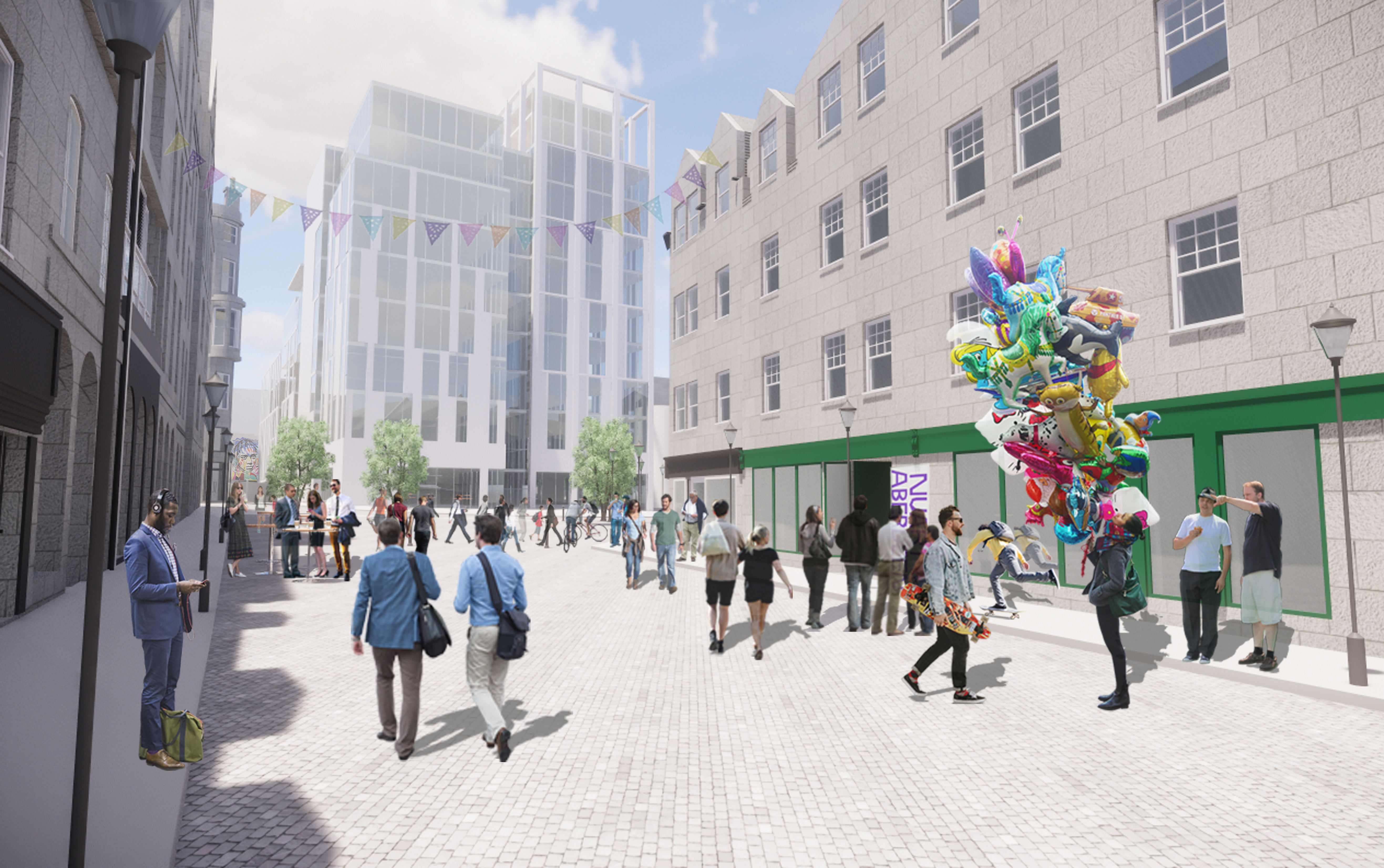 An artist's impression of what the new building will look like from The Green.