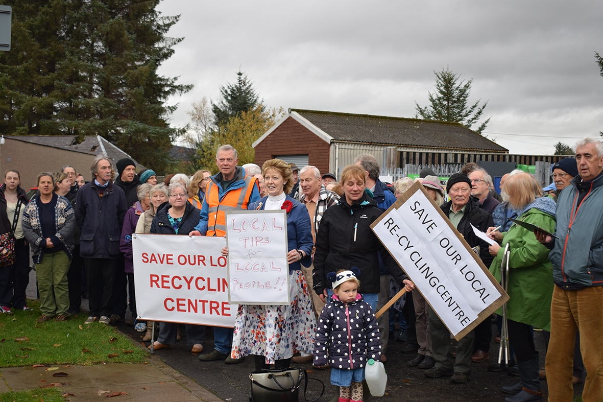 Protesters outside the Insch recycling centre.  (Picture: Andrew Waterhouse)