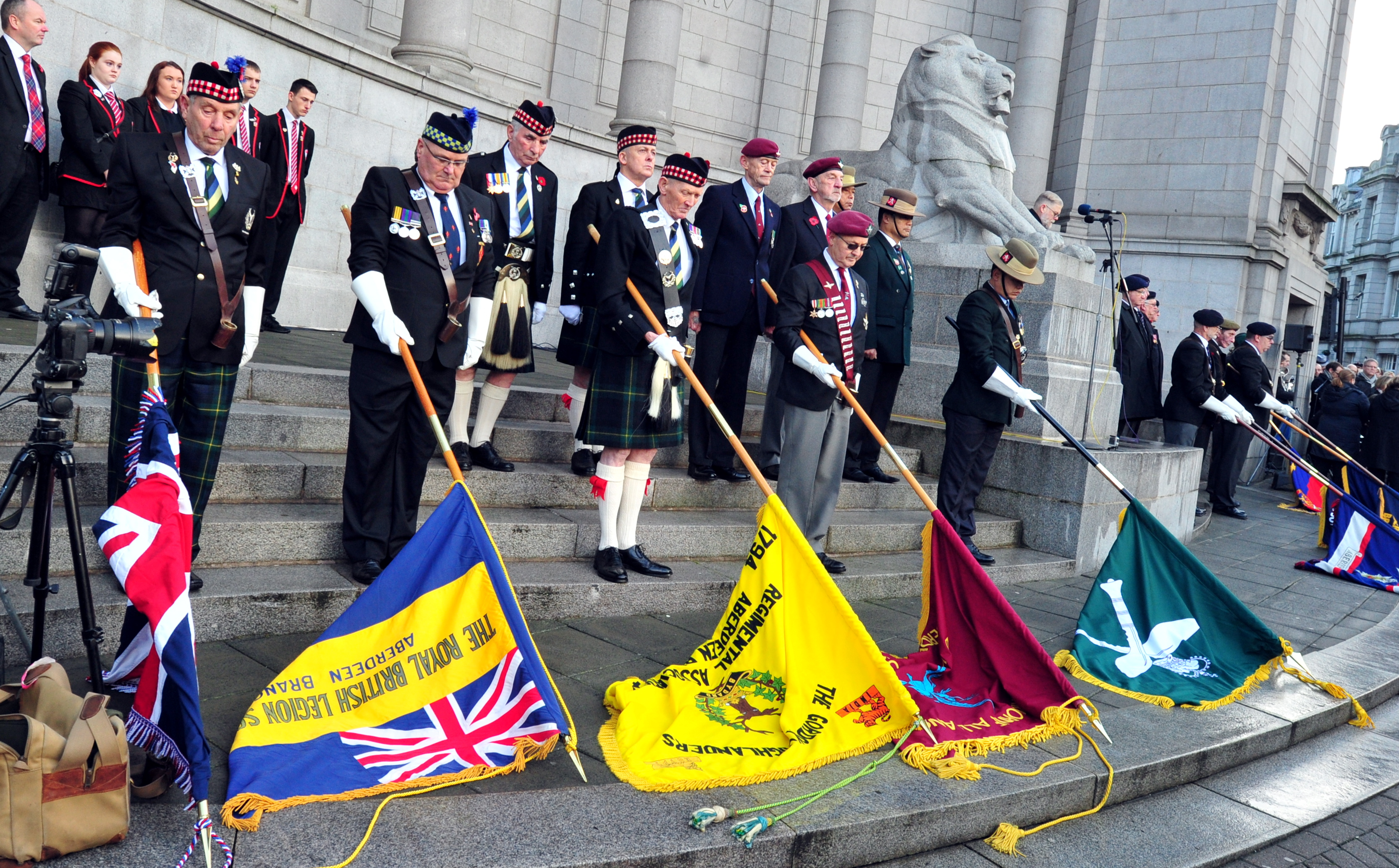 Crowds gathered in Aberdeen to mark Remembrance Day.