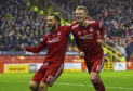 Aberdeen's Gary Mackay-Steven (R) celebrates his goal with teammate Stevie May