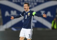 Andy Robertson in action for Scotland against Albania.