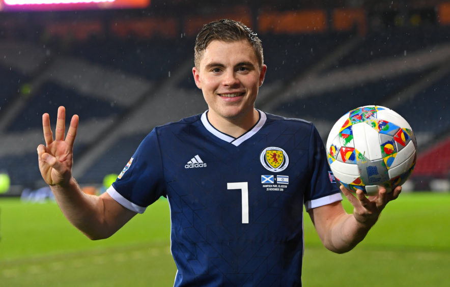 James Forrest with the match ball at full time