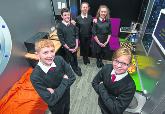 Elgin Academy pupils, from left, Josh Hanover, 13, Jonathan Affleck, 14, Carrie Brown, 14, Lexi Sayle, 14 and Kelly Price, 12