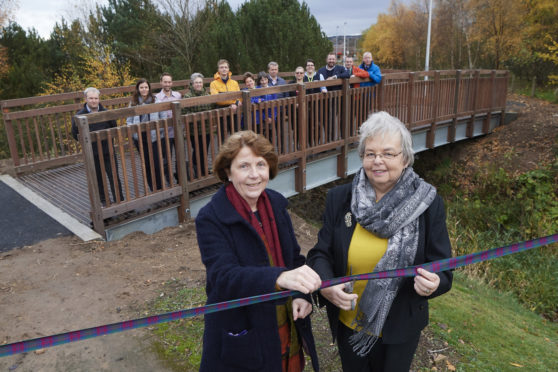 The new bridge at Stoneyfield, Inverness was officially opened yesterday by Councillors  Isabelle Mackenzie and Trish Robertson