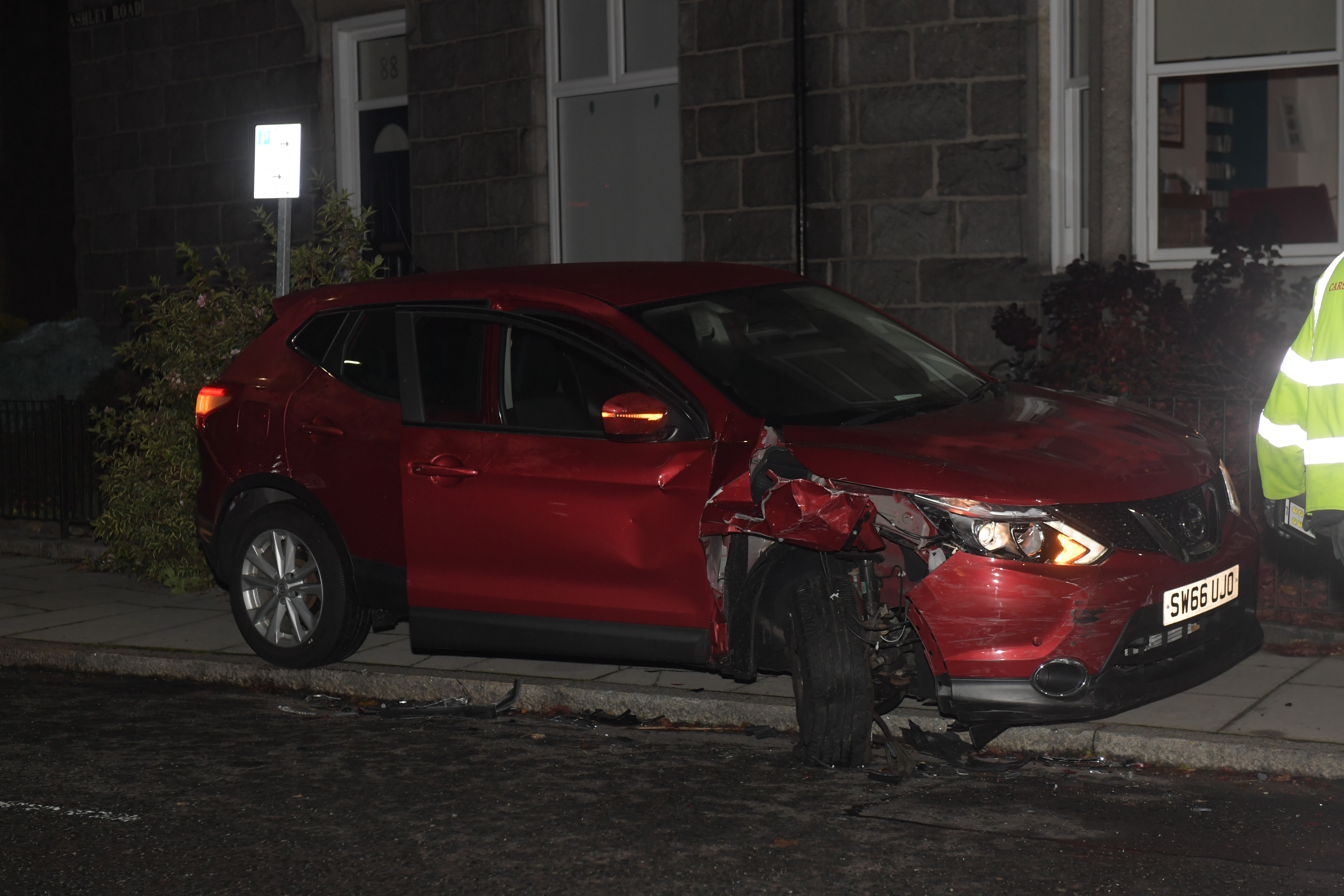 One of the vehicles involved.