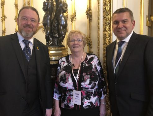 MP David Duguid at Lancaster House last week along with Rose Logan and Robert Stephen, both of Turriff Business Association.