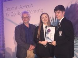 Chairman of Moray Council's Planning & Regulatory Services Committee David Bremner, with S6 Pupils Kadie and Jack at the Scottish Awards for Quality in Planning