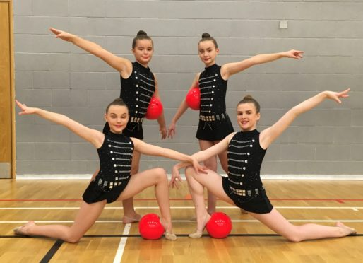 Cara Patterson, 12, Gaby Giles, 12, Lucy Nicol, 11, and Abby Reid, 10, and they all train at the Beacon Rhythmic Gymnastics Club in Bucksburn Aberdeen.
