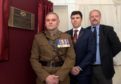 From left, Lieutenant Colonel Geraint Davies, Councillor Ryan Houghton and Aberdeen University's Neil McLennan.  Picture by KATH FLANNERY