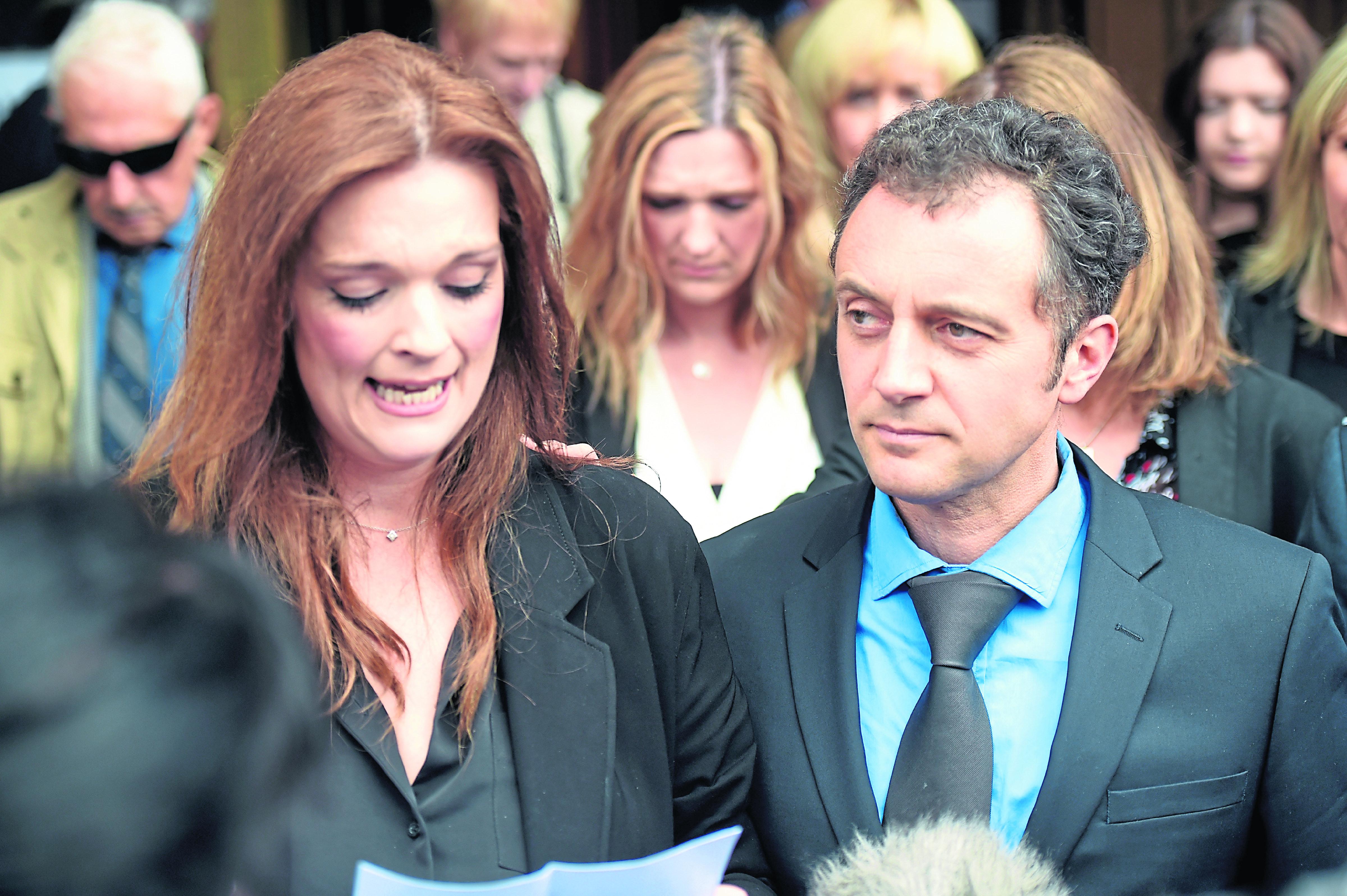 Fiona Drouet, outside Aberdeen Sheriff Court with husband Germain,