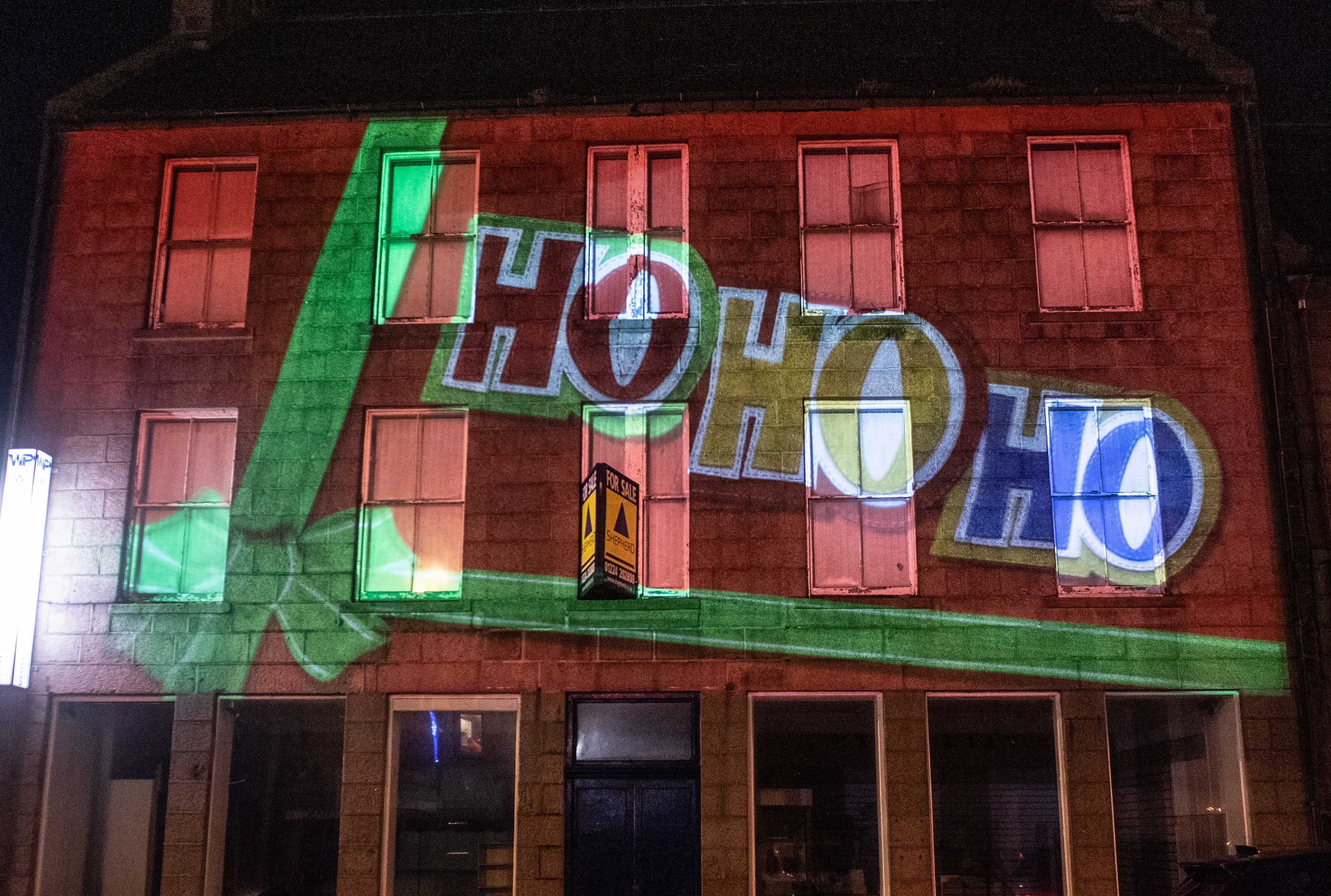 Christmas animation on Wiseman's building on Broad Street, Peterhead by Double Take Projections.  Picture by Abermedia / Michal Wachucik