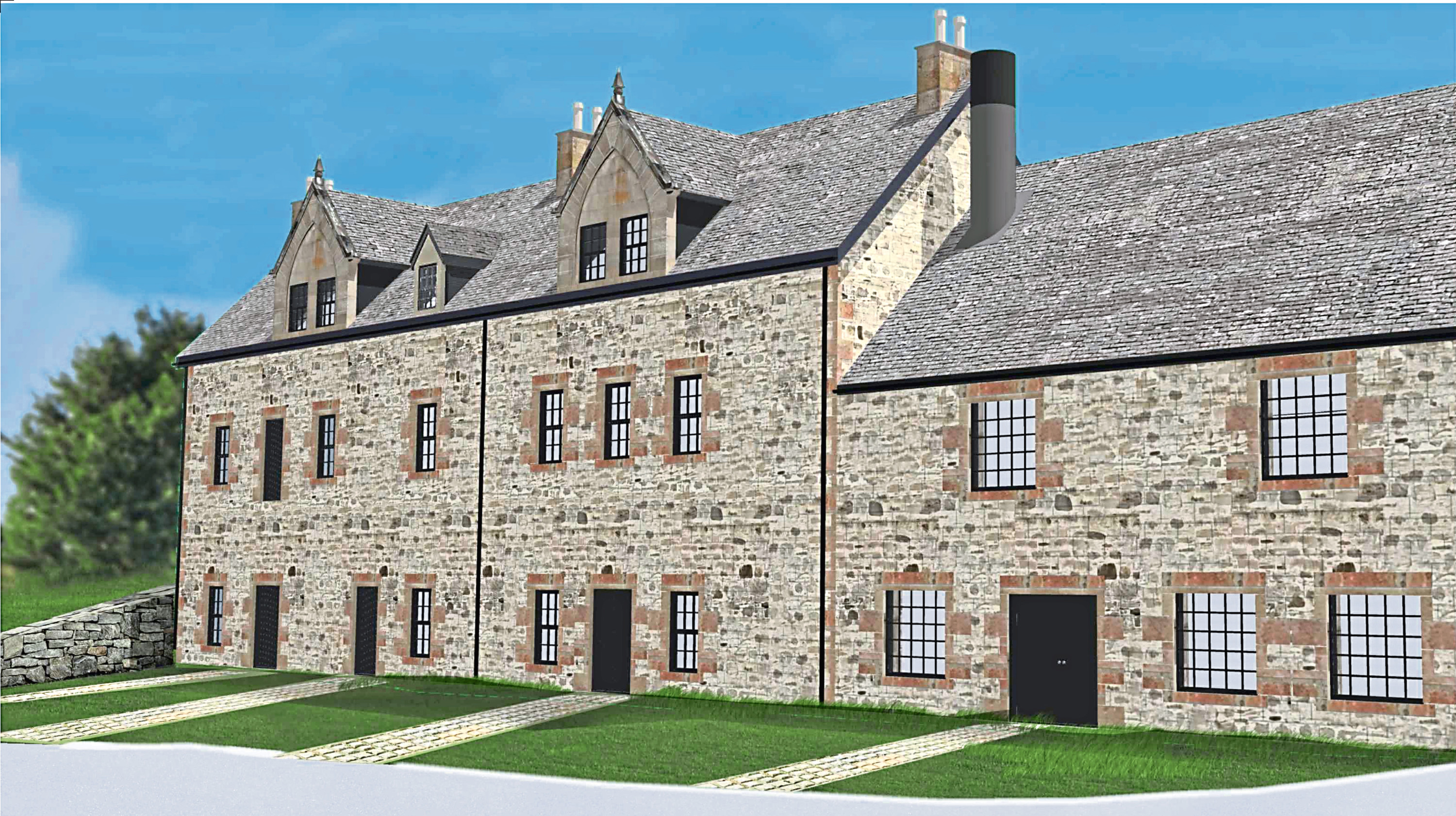 Artist impression of the gin distillery at Ardross.