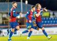 Tom Walsh (right) celebrates his goal for Inverness to make it 1-0