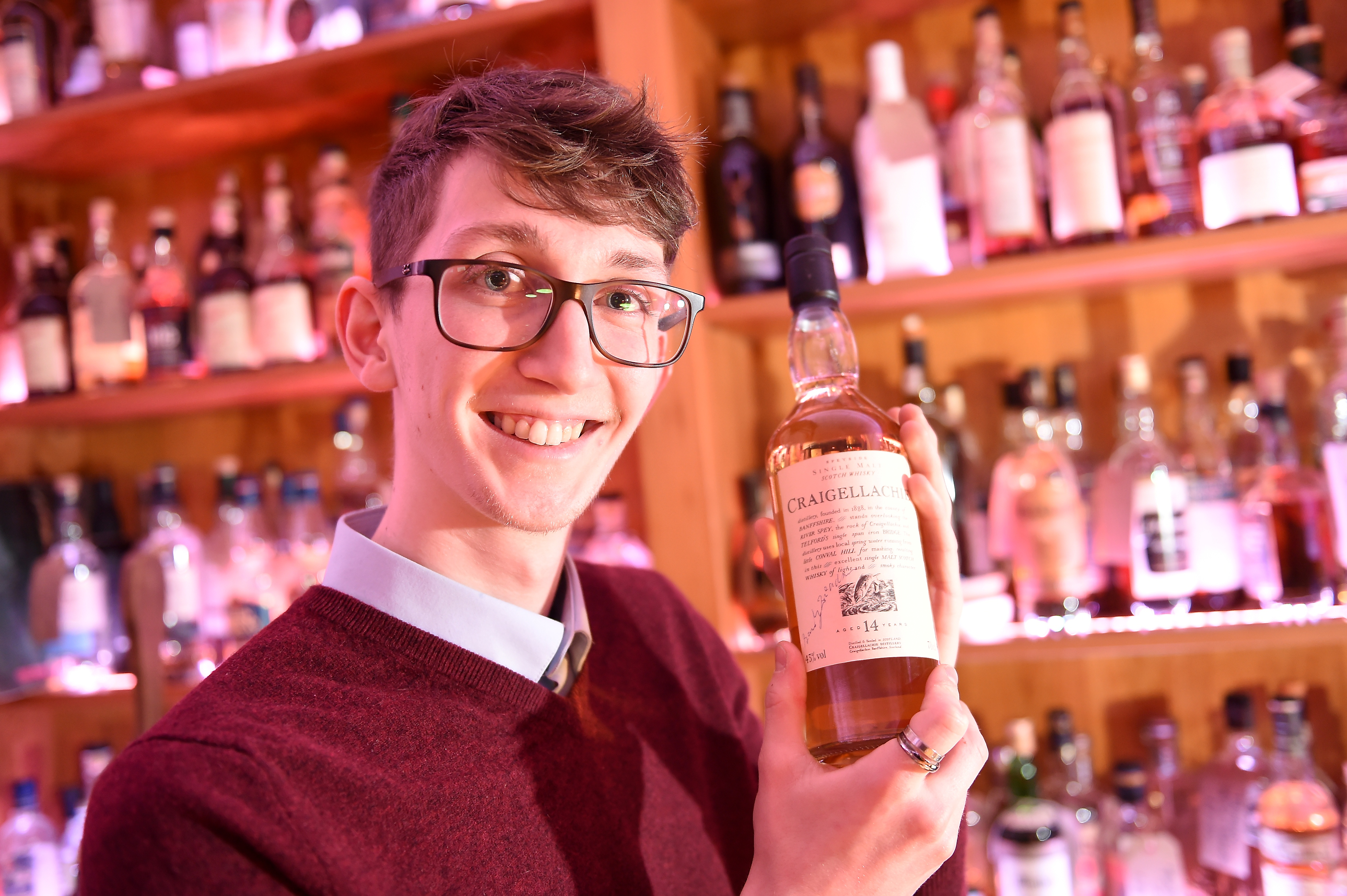 Angus Bryce-McVay is head bar tender at the Craigellachie Hotel.