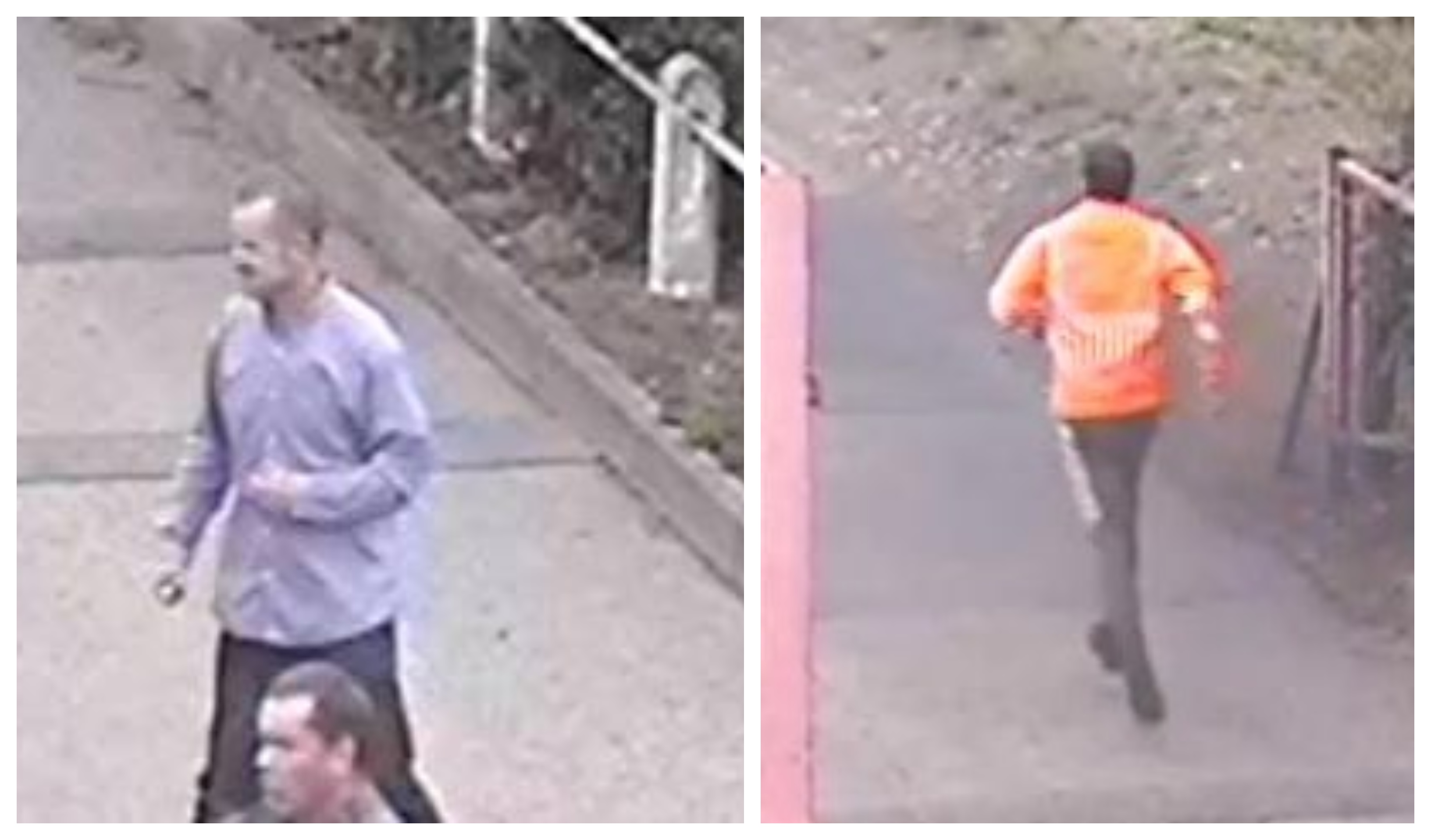 CCTV images released by police show Donald Stewart Snr, 47, and Donald Stewart Jnr, 24