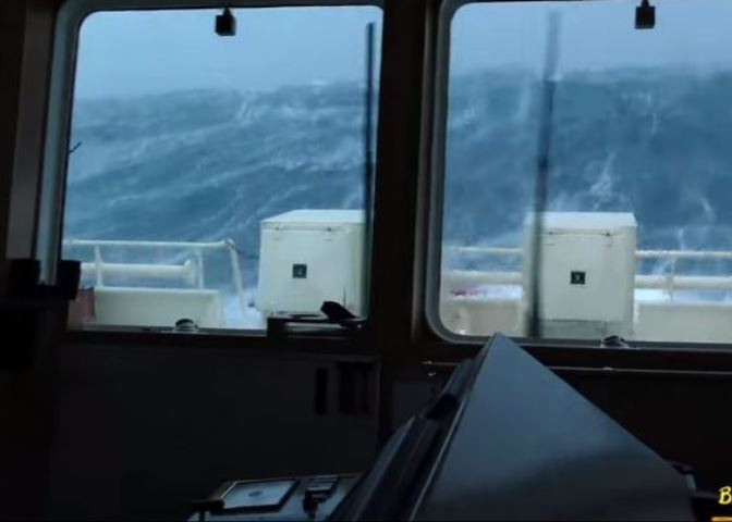 The ERRV faces off high waves amid the storm