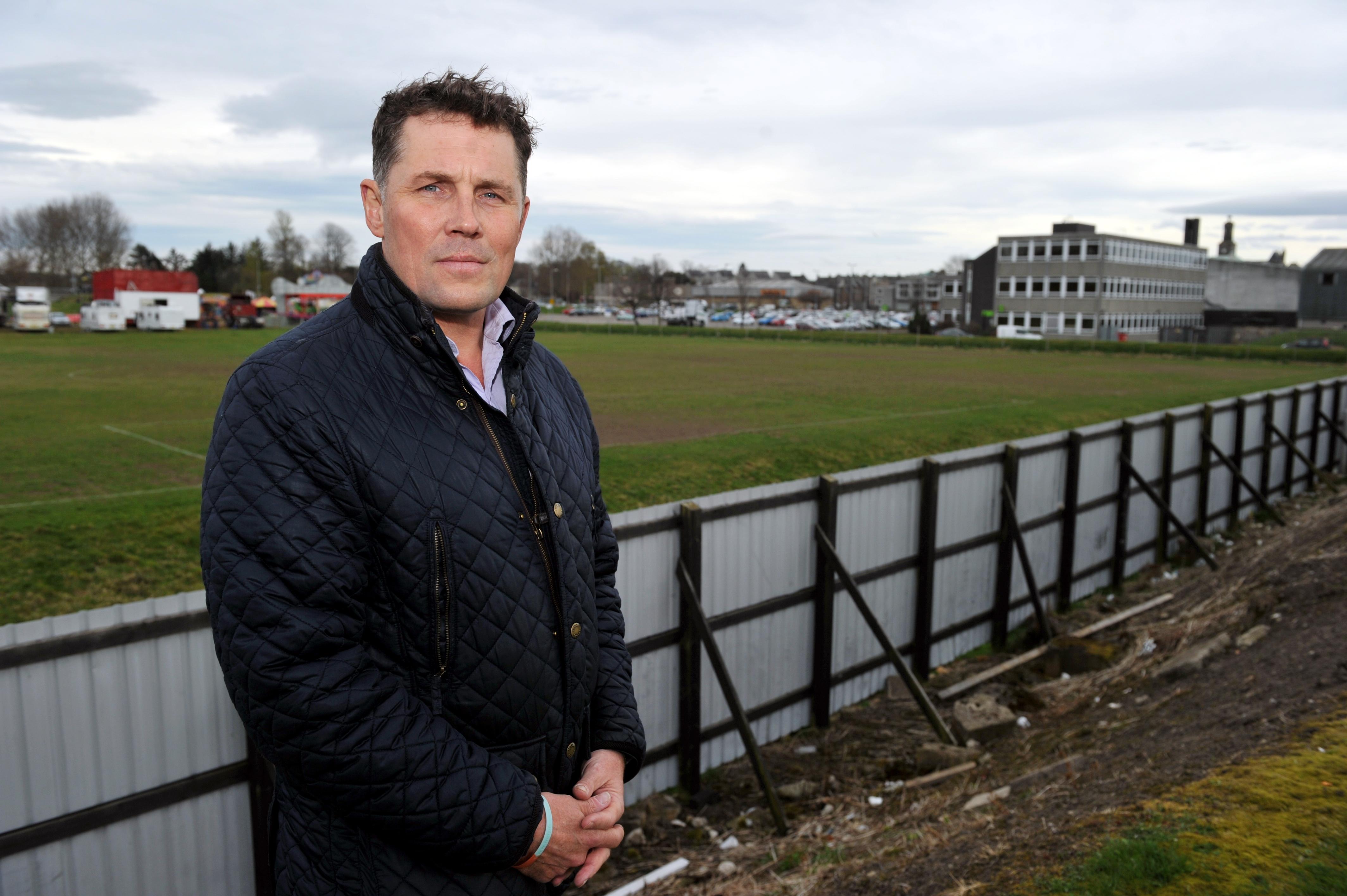 Dave Allen, chairman of Elgin Sports Community Trust, overlooking Lesser Borough Briggs.