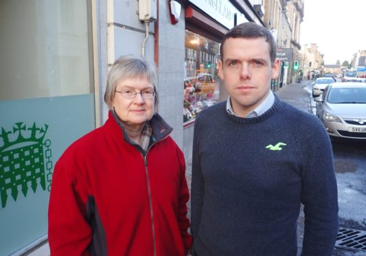 Douglas Ross with councillor Claire Feaver