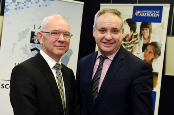 George Boyne and Higher Education Minister Richard Lochhead