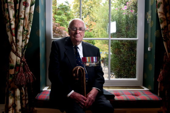 Royal Northern and University Club, Aberdeen, RAF Event. 19th September 2018.  Pictured is the guest of honour John Alexander Cruickshank, who recieved the Victoria Cross for sinking a German U-Boat. Despite recieving several injuries while sinking the German Submarine he managed to safely land his plane.    Picture by Scott Baxter   19/09/2018