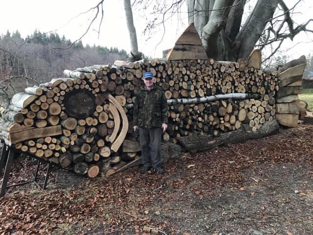 Julian McHardy with his log salmon.