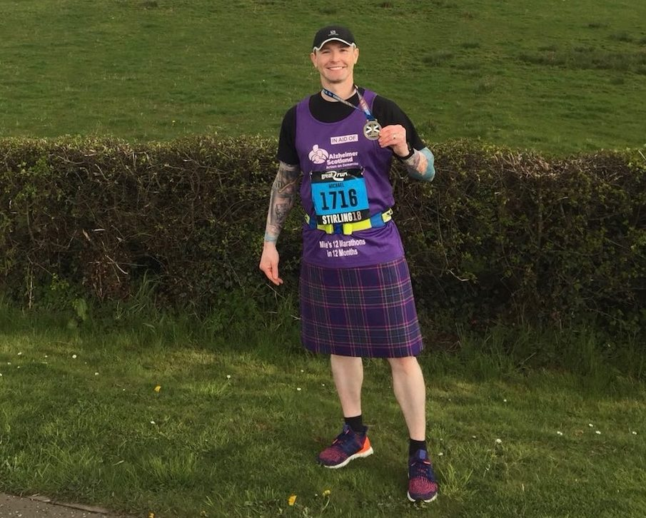 Mike Inglis in his Alzheimer Scotland tartan kilt.
